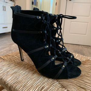 Karl Lagerfeld Paris black suede lace up heels